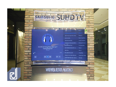 Designing and construction of Standee Samsung curved and Sound bar wireless at Aeon Mall Ha Noi