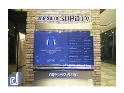 Thiết kế & Thi công Standee Samsung curved và Sound bar wireless tại Aeon Mall Hà Nội