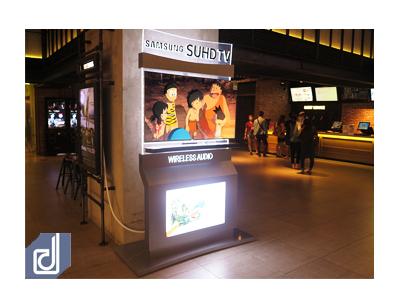 Thiết kế & Thi công Standee Samsung curved và Sound bar wireless tại cụm rạp CGV TPHCM